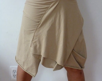 Beige Cotton Spandex with drape front and raw edge/made to order by Cheryl Johnston