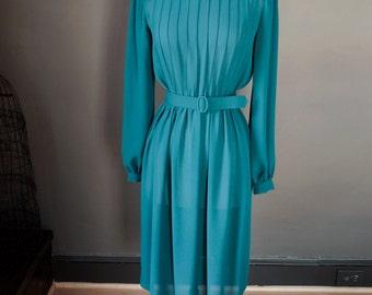 Prim and proper... Vintage long sleeve CHIFFON dress with PINTUCKS