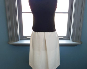 Vintage cream TEXTURED a-line knee length mod SUMMER SKIRT