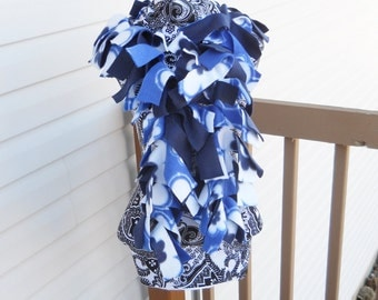 Handmade Blue White Floral and Navy Fleece Boa Scarf