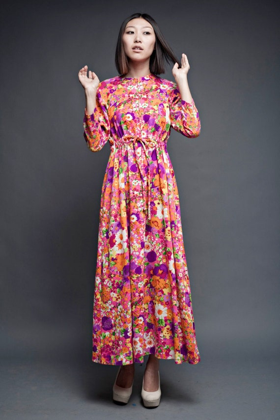 "vintage 70s dress bright floral maxi empire long sleeves S M (38"" bust)"