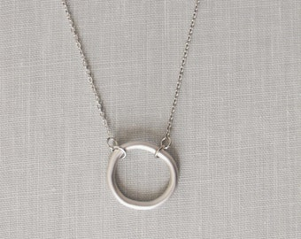 SALE. Silver circle necklace - Simple silver necklace, Silver eternity necklace, Ring necklace, Dainty silver necklace, Delicate necklace