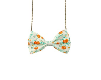 Floral Green Orange - Bow Tie Necklace - Green Orange Floral Vintage Inspired, Casual Bowtie Necklace