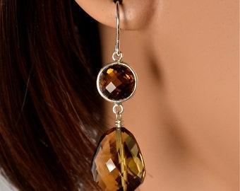 LP 1024  Sparkling Faceted Cognac Quartz Nugget Drop Earrings