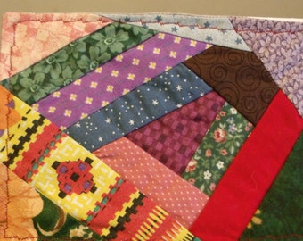 All Occasion Fabric Mini Crazy Patch Quiilt Greeting Card (C-514)