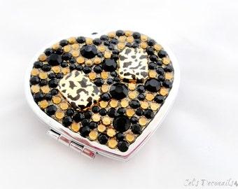 Animal print decoden compact mirror , gold rhinestone heart shaped mirror, Harajuku fashion accessory