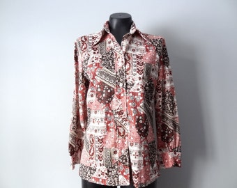 Womens Vintage Autumn Inspired Blouse size Womens Large or Mens Small or Medium