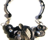 Black and silver steampunk statement necklace--upcycled recycled materials