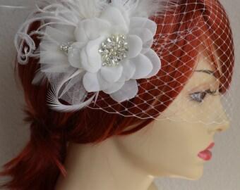 MADE TO ORDER,Flower Fascinator and Veil,Birdcage Veil and Hair Flower,Flower and Veil,Art deco headpiece,Birdcage Petite Veil,Veil Set
