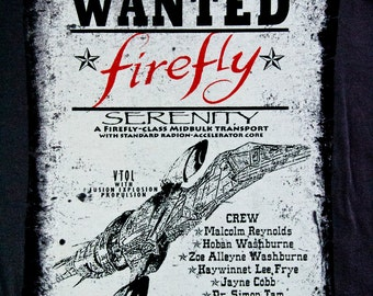 FIREFLY Tshirt Unisex for Men & Women Wild West WANTED Poster Tee Dk Grey - Bring back Firefly.