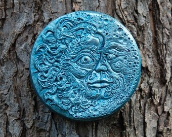 SUN MOON Cast Stone Sculpture, Outdoor Wall Art, Blue Moon Eclipse Art, Stone Garden Tile