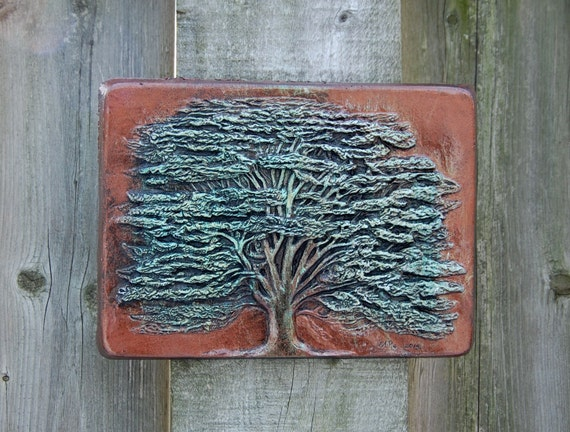 Cedar tree stone art sculpture tree wall art by for Stone wall art