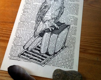 Barn Owl On A Bookpile Medium Art Print on Antique 1896 Dictionary Book Page