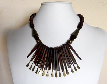 Wood Brass Necklace Choker Bib Statement Vintage  (VN-109)
