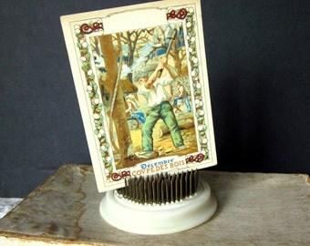 """Vintage French """"Decembre"""" Calendar Advertisement Card, Gustave Guerin & Cie, Coupe Des Bois"""