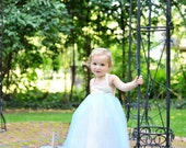 Blue Flower Girl dress--Vintage Style--Something Borrowed Something Blue--Perfect for Weddings