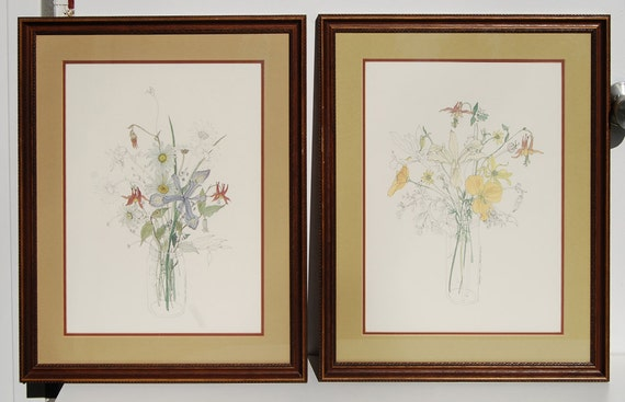 Two Mary Lou Goertzen Floral Botanical Prints Wood Frame