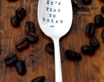 It's Time to Grind -  Coffee Lovers Anniversary Wedding Honeymoon Gift - The Original Hand Stamped Vintage Coffee Spoons Sycamore Hill