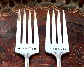 CUSTOM Bridal Wedding Cake Dessert Forks.  Your Words.  Cake Cutting - Custom Hand Stamped Vintage Silverware by Sycamore Hill