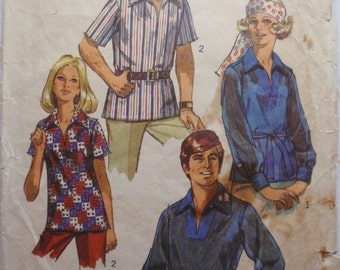 Women's Vintage 1970's Pullover Shirt Sewing Pattern - Simplicity 8711 - Size 12, Bust 34