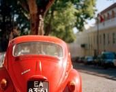 Red beetle, Volkswagen red, Vintage style, retro style, Red car, Car photography, travel Photography, Red, nursery room, home decor