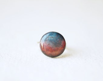 Purple Nebula Small Ring - Galaxy Space Jewelry