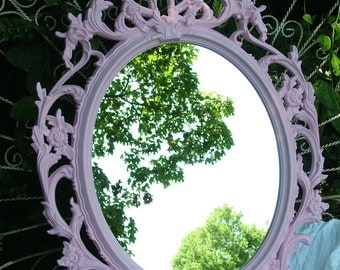 BAROQUE  Mirror , Ornate Mirror, Pink Mirror, Nursery Mirror, Oval Mirror ,Choose Color, Size 33 1/2 x 23 1/2