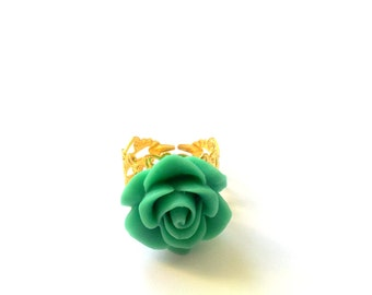 Victoria turquoise rose ring atop gold plated adjustable filigree, jewelry, ring, resin, rose,