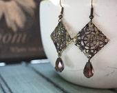 Plumeria Earrings, Purple and Green Brass Filigree Earrings, Olive and Plum, Teardrop Earrings, Filigree Jewelry