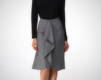 High low skirt, A line grey skirt ,knee length, Custom order , playful skirt , high quality tailor made, High fashion