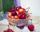 Cherries in The Bowl Painting 5x8inch - Watercolor Painting by Irina - Print