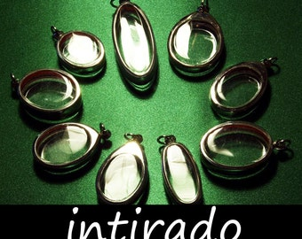 Empty Pendant Blanks, Silver Tone, Intirado, Reliquary, Oval Locket, Necklace Pendant, Terrarium Pendant, Clear Locket, Marimo, 9pcs