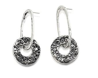 Sterling Silver Dangle Earrings, Hammered Metal Earrings, Stud Earrings, Oval Earrings, Circle Earrings, Stamped Silver, Unique Jewelry,Hoop
