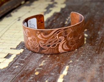 Metal Ink'd - Copper Cuff Bracelet Hand Engraved & Patinaed, Mehndi Inspired - ReaganJuel