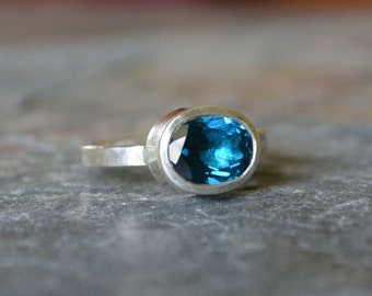 Huge London Blue Topaz Solitare Stack Ring Engagement Ring Alternative Sterling Silver