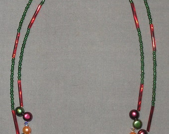 Double Strand Pearl and Crystal Necklace-Red/Green/Gold