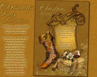 Christmas Party Invitations, Christmas Card, Christmas Dinner Card, Holiday Card, Christmas Party