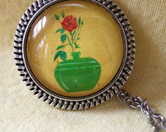 "Flower Pendant, ""Red Rose in Green Striped Vase"", Round Red Rose Pendant, Antique Silver  Plated Pendant, 1.25""x1.25"" Round Pendant Neckace"