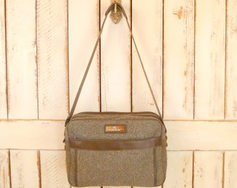 Tan travel tote/vintage travel bag/tan woven carry on bag