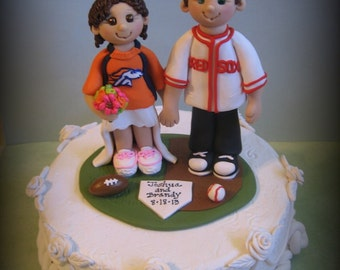 Wedding Cake Topper, Custom Cake Topper, Bride and Groom, Sports Theme, Football, Baseball, Polymer clay, Personalized