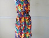 Vintage Sleeveless Tropicalprint Vacation Dress, Floral Print