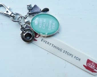 Keep Calm & Drink Tea Glass Tile Key Ring With Charms and Ribbon - Other Colours Available