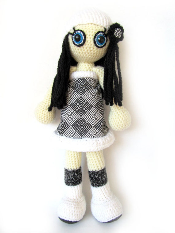 SALE Crocheted doll - unique soft toy - art doll - amigurumi - collectible black white kids girl