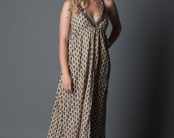 SALE! Tribal - Black and cream printed cotton halter-neck maxi dress (size 8-10-12) S/M