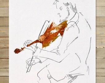 Quartet Series / 4 of 4 / 8.5 x 11 in. Art Print | modern abstract violin violinist musician wall art