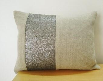 Linen Pillow with Gray Sequin Band , Shimmer Pillow , Industrial Chic Linen Pillow, Holiday Decor , Throw Pillow , Decorative Pillow