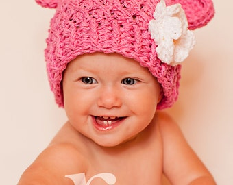 Baby Girl Hat, 12 to 24 Months Baby Girl Chunky Monkey Hat, Crochet Flapper Beanie, Rose Pink with White, Yellow Flower. Photo Props. Gift.
