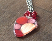 Red Pink Necklace - Dot Necklace - Resin and Capiz Shell Necklace - Dots Rounded Triangle Pendant in Red Pink and Peach