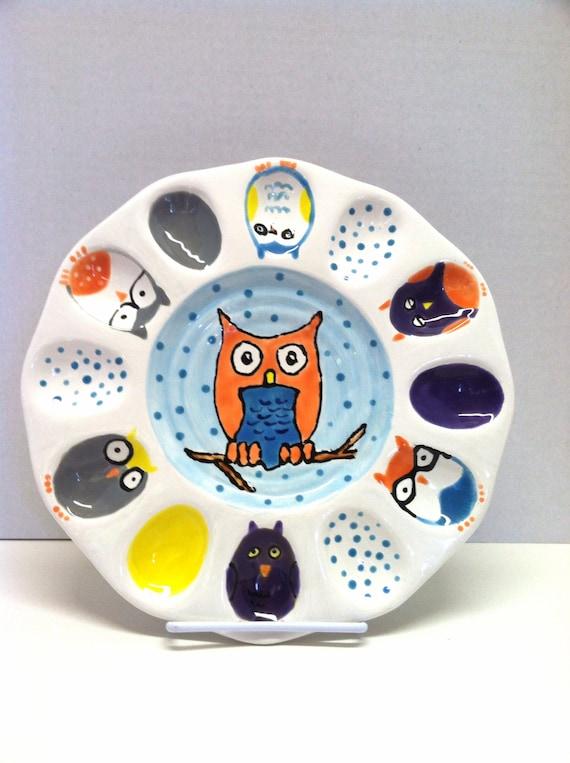 Sale Ceramic Deviled Egg Owl Plate Owl Egg Serving Platter
