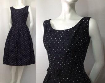 Vintage 1950s New Look Adele Simpson dress Modernage Black White Polka Dot Full Skirt built in crinoline Sleeveless Bolero Rockabilly